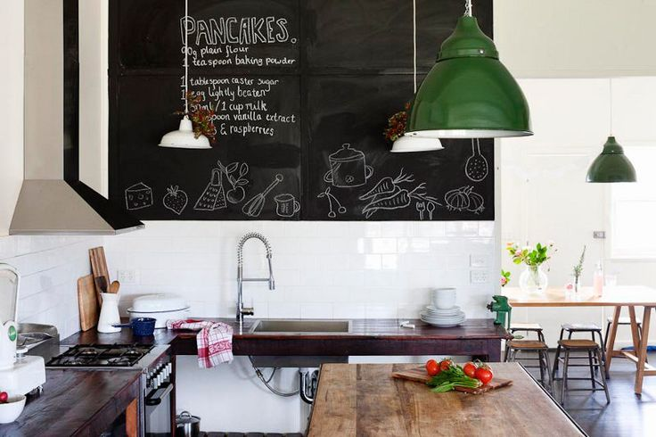Chalkboard in an Australian farmhouse kitchen
