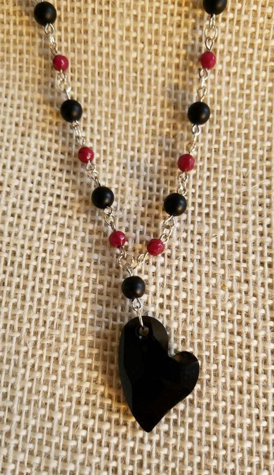 Swarovski Black Heart Prayer Bead Necklace, Swarovski Devoted 2 U Jet 27 mm Heart Pendant with Onyx & Ruby by TheOldBones on Etsy