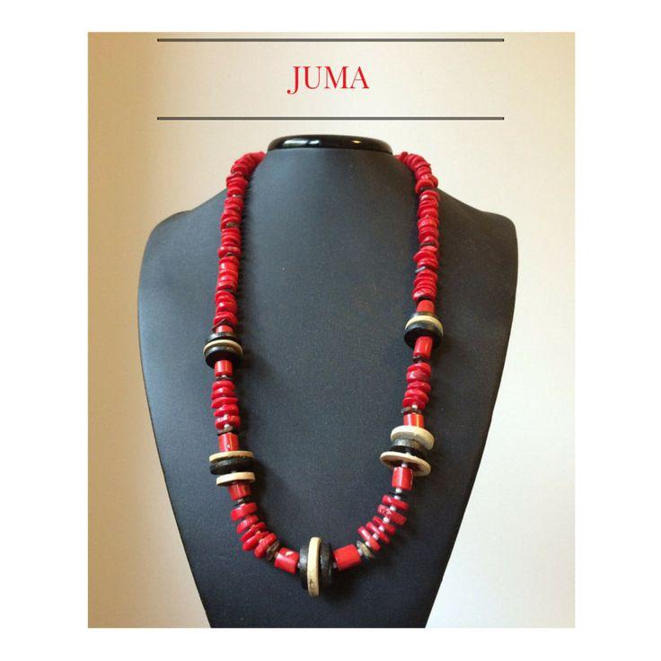 Collana etnica lunga ETNIC ROSSO con pietre di corallo rosso, argento, corno e legno by StudioJUMA on Etsy