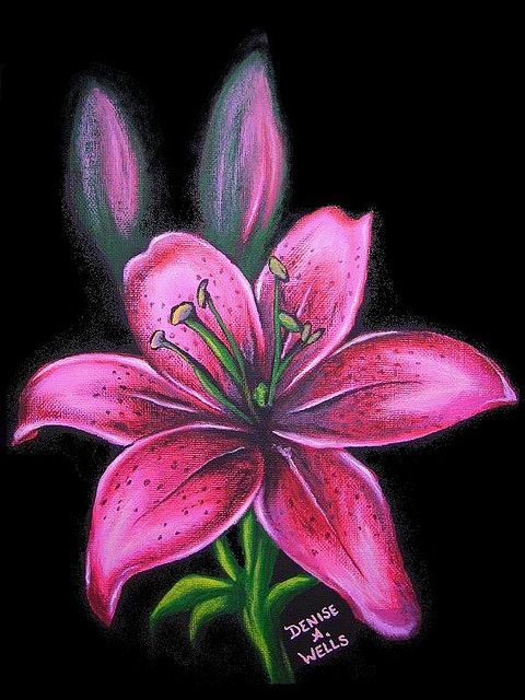 "https://flic.kr/p/7obvGH | Pink Lily by Denise A. Wells | Acrylic painting I just finished. I just LOVE to work with these colors - it cheers me up.... More of my artwork can be viewed at <a href=""http://www.myspace.com/denyceangel666"" rel=""nofollow"">www.myspace.com/denyceangel666</a>"