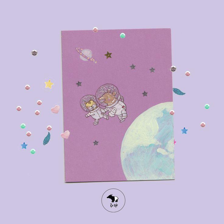 Paleo mengajak Achan main ke Planet Saturnus.  Wow, wow!   #guyu #greetingcard #kartusayang