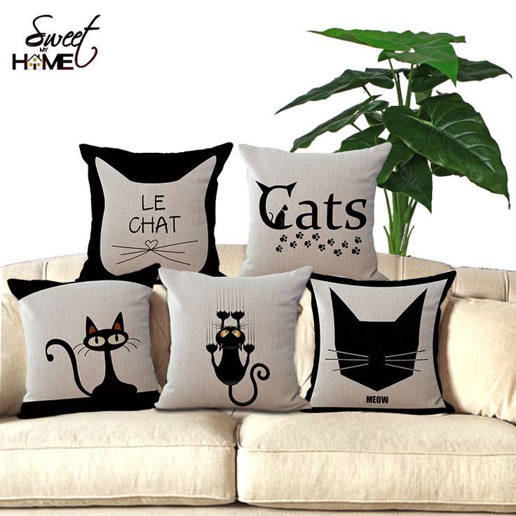 Cute Cat Printed Decorative Sofa Throw Cushion Coffee House Chair Seat Soft Pillow Without Filling Home Decor