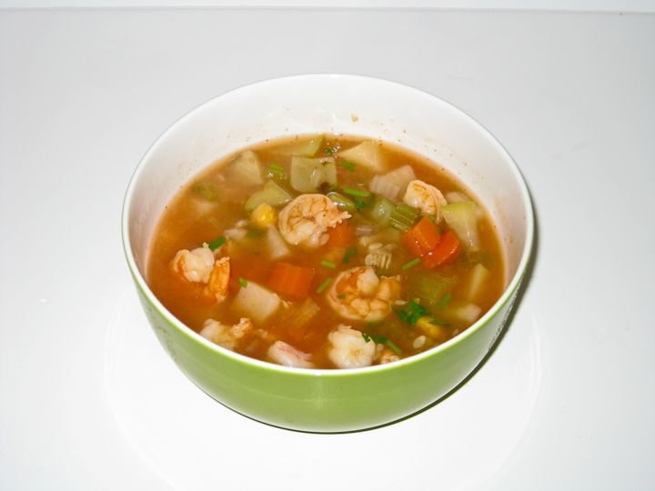 Chop carrots onion chayote celery calabacitas tomato and potatoes into small dices. Set aside. Chop cilantro and set aside. Open can of garbanzo beans. Drain remove skin and rinse.