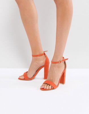 Sandalias minimalistas con tacón cuadrado en naranja de Glamorous ... a20040079a1c