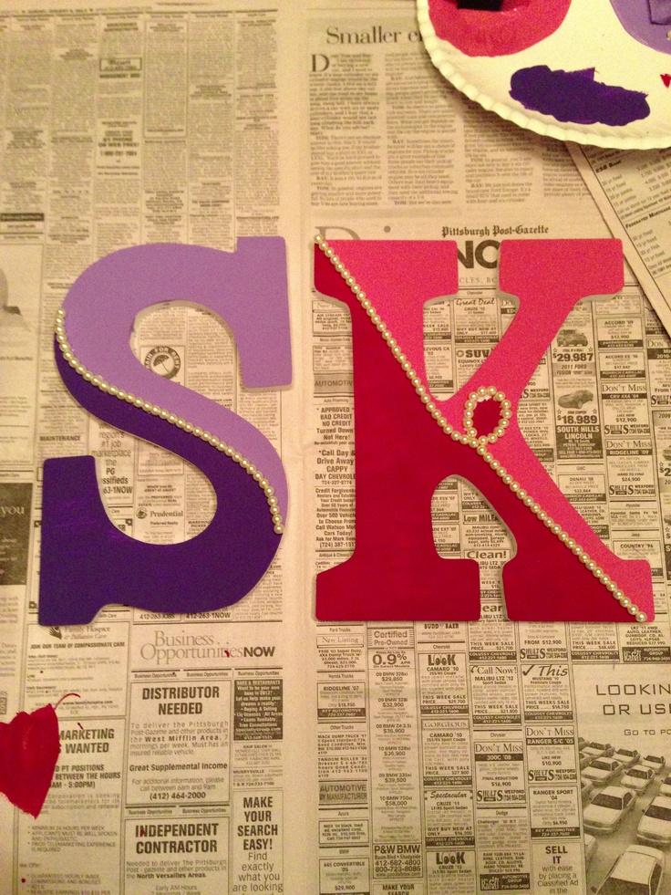 Sigma Kappa wooden letters!! #sorority #craft #wooden #letters #sigma #kappa #sigmakappa #pearls #handmade