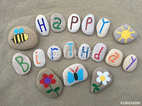 """Download the royalty-free photo """"Happy Birthday with stones design composition"""" created by Ciaobucarest at the lowest price on Fotolia.com. Browse our cheap image bank online to find the perfect stock photo for your marketing projects!"""