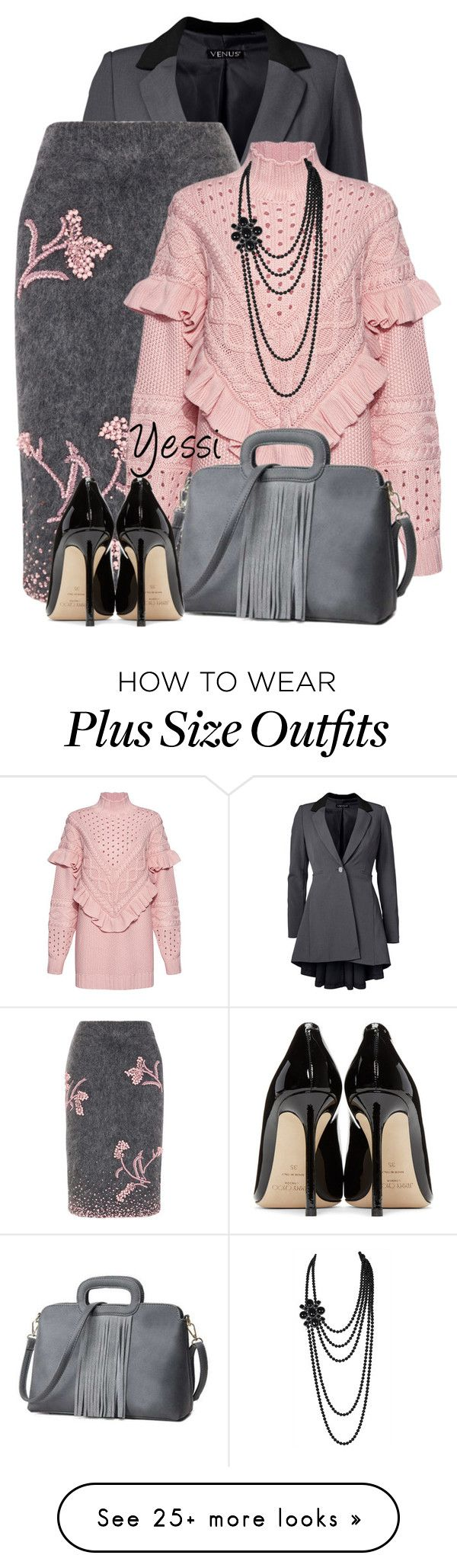 """""""~  Long Jacket with Skirt  ~"""" by pretty-fashion-designs on Polyvore featuring Venus, Prada, Mother of Pearl, Chanel, Jimmy Choo and plus size clothing"""