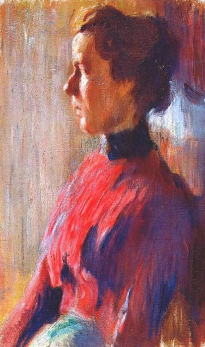 'Unknown woman in red', 1901 by Mstislav Dobuzhinsky (1875-1957, Russia)