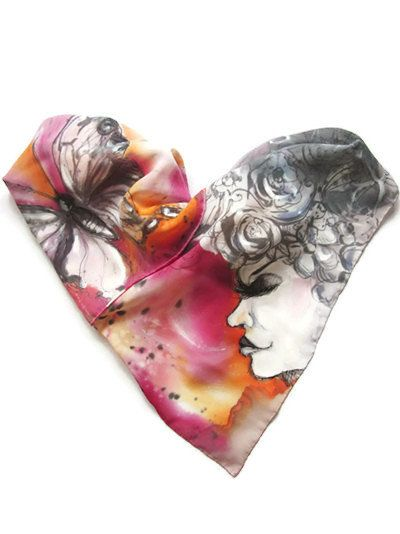 Hand painted chiffon scarf. Pink and red women scarf by SEscarves