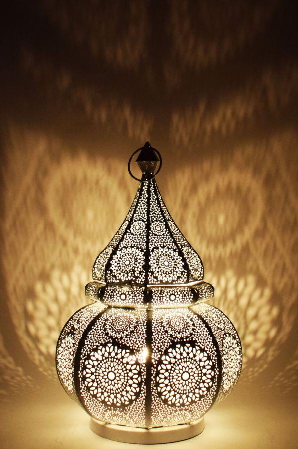 Orientalische Tischlampe Lampe Malha Weiss Tischlampen