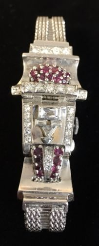 Vintage-Art-Deco-14k-White-Gold-Ruby-Diamond-Pery-Watch