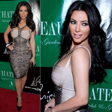 Kim Kardashian Lacy Printed Beige Bandage Dress Kim Kardashian at Chateau Nightclub in Las Vegas