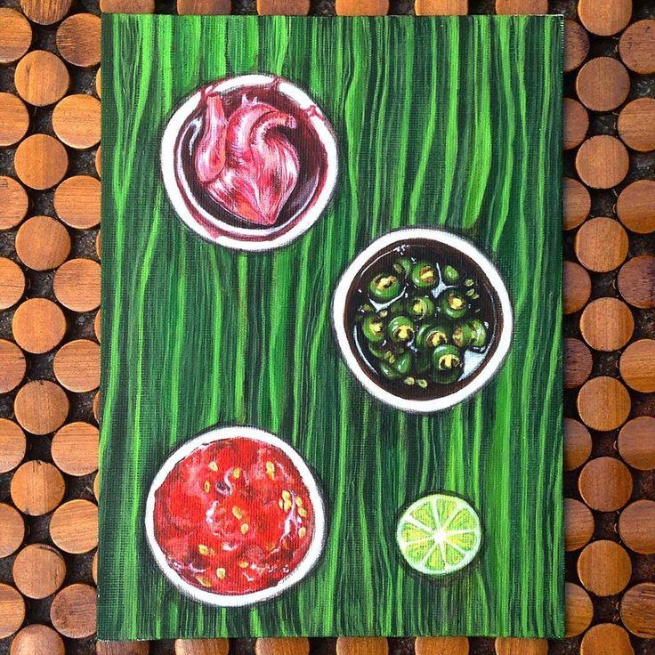 'Banana Leaf Condiments' by Chloe Nava (Acrylic on Canvas 8x6)