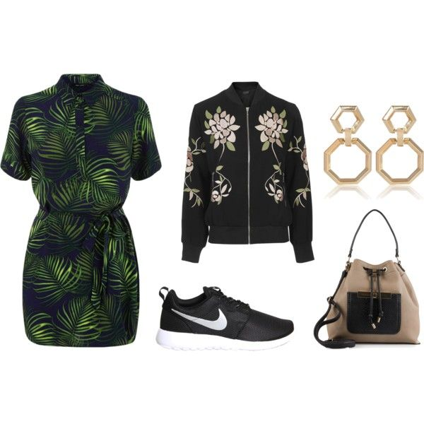 Shirt Dress by sarahohbaby on Polyvore featuring Topshop, NIKE, New Look and River Island