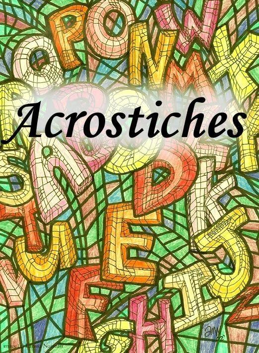 Un acrostiche est un poème, une strophe, dont les initiales des vers, lues verticalement, composent un mot. On peut le réaliser avec un prénom et nous, on travaillera sur les adjectifs qualificatifs dont les premières lettres recomposent le prénom de...