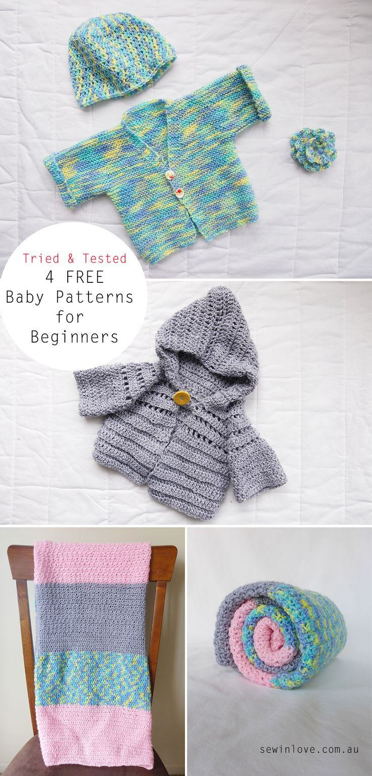 "Free crochet and knitting baby patterns for beginners (cardigan, hoodie, blanket and hat).   Use ""PINTEREST15"" and get 15% off my ebooks."