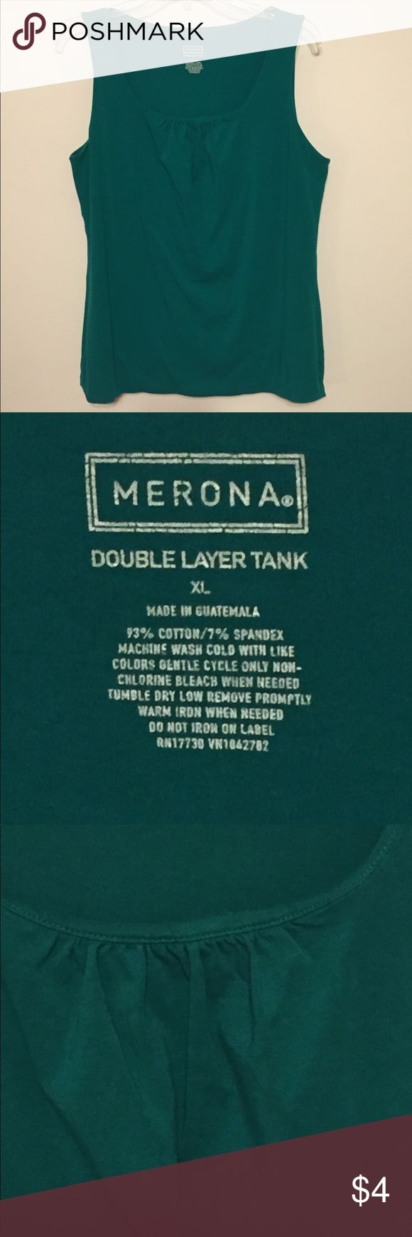 """NWOT Merona Double Layer Tank Top NWOT Never worn Merona Women's double layer tank top in jewel green. Picture shows gathering at the bottom of the scoop neckline. Measures 21"""" pit to pit and 23"""" top to bottom. Any questions, please ask!  Thanks for looking! 💝 Bundle your likes for a discount & save on shipping! Merona Tops Tank Tops"""