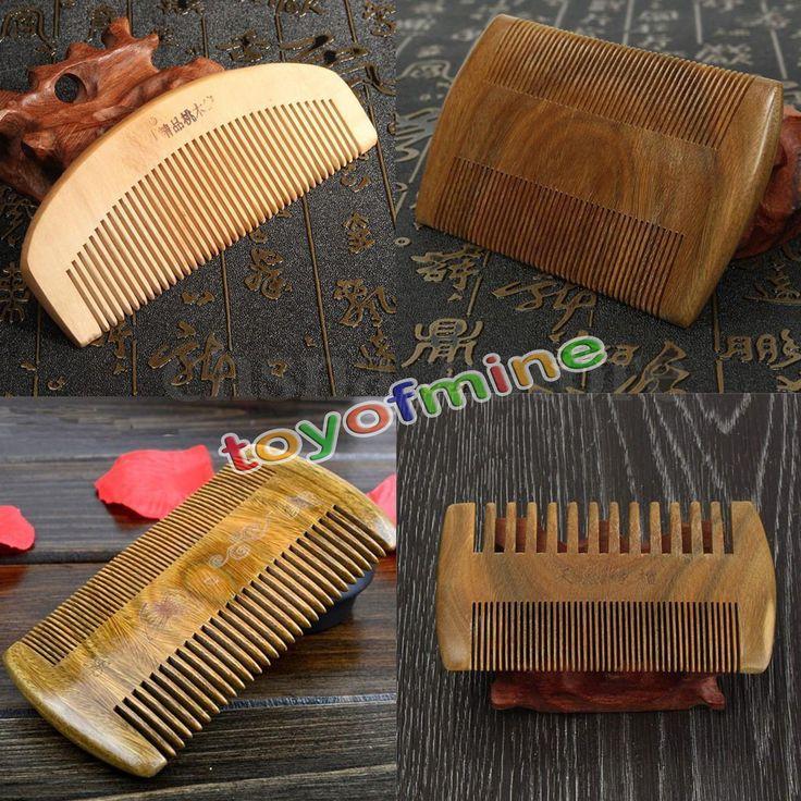Peigne Brosse Cheveux en Bois Santal Coiffure Barbe Massage Anti Statique Comb | eBay