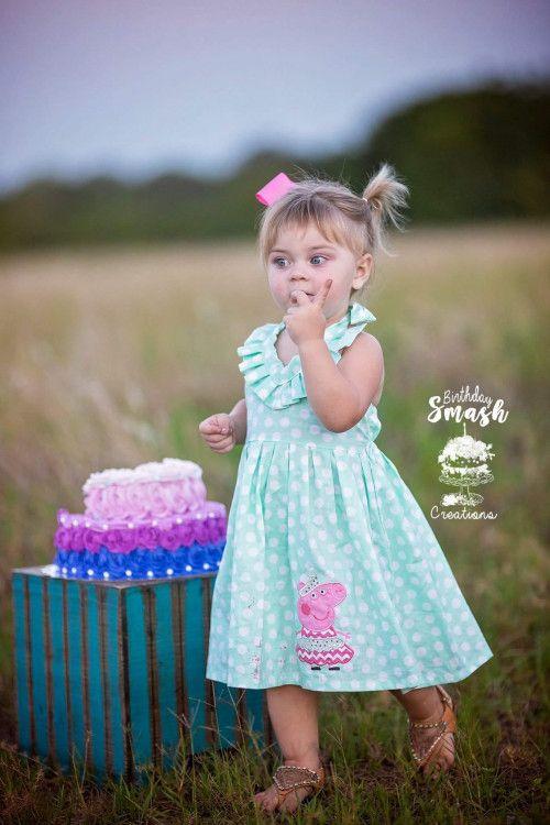 Peppa pig themed birthday sun dress