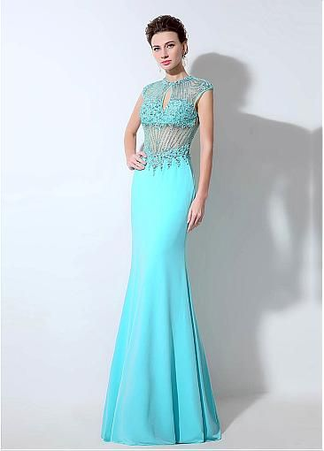 Glamorous Chiffon Jewel Neckline Mermaid Formal Dresses With Beadings