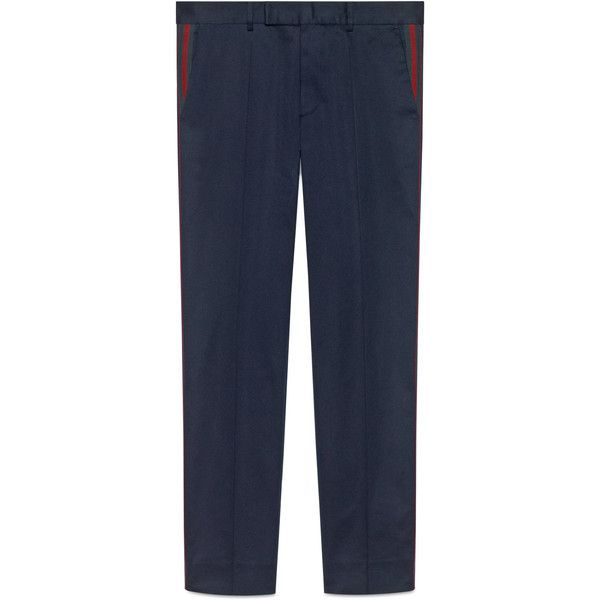 Gucci Cotton 60S Pant With Web (2.720 RON) ❤ liked on Polyvore featuring men's fashion, men's clothing, men's pants, men's casual pants, cotton, men, ready-to-wear, trousers & shorts, gucci mens pants and mens blue pants