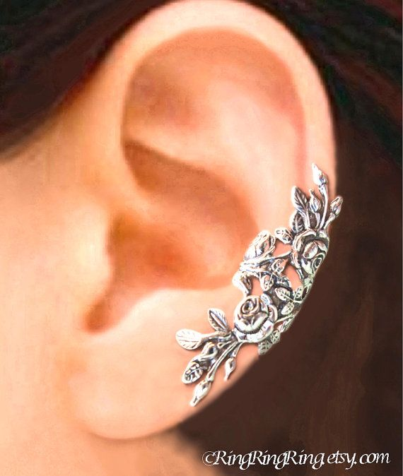 Long Garden Rose earrings, floral ear cuffs, Sterling Silver earrings, leaf and flower earcuff clip, jewelry, Left, C-104