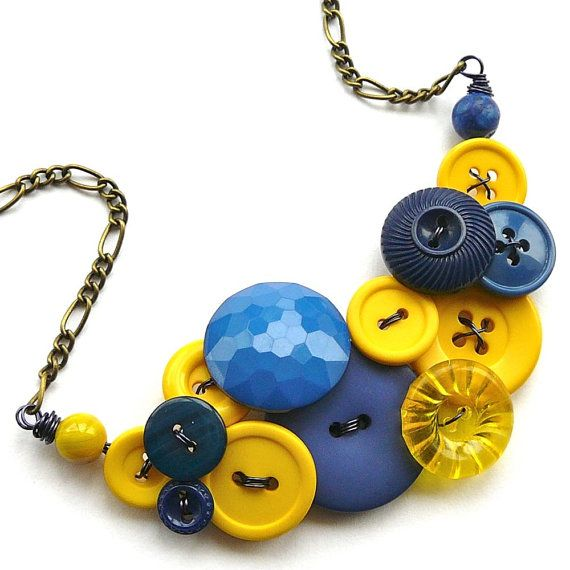 Navy Blue and Bright Yellow Vintage Button Large Statement Necklace by buttonsoupjewelry, $33.00