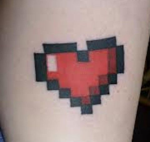 pixel heart tattoo. Perfect for gamers