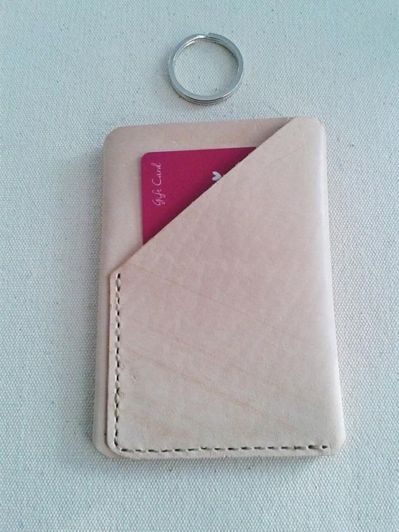 Credit Card Wallet  Trifold Leather Hand-Sewn  Natural  #etsy  #handmade  #leatherwork  #cardholder
