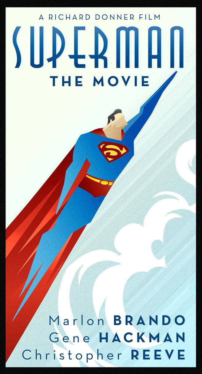 Modern movie poster fan art, retro Art Deco styling; Superman