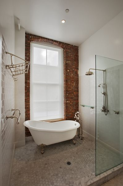 Move bathroom door to other end...clawfoot tub in a wet-room. Do this upstairs!