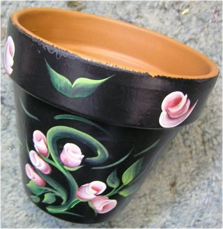Painted sunflowers on my pots with a yellow rim!!  Turned out really cute!!Painted clay pot.