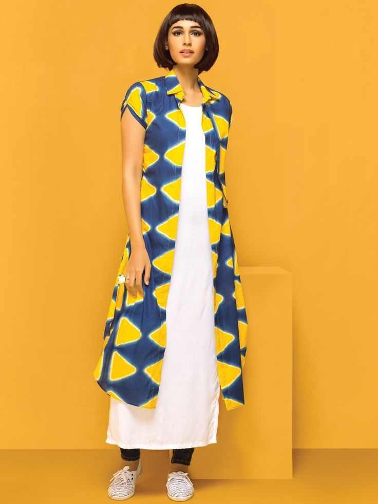 Nidhi Fashion Navy Blue & White Cotton Kurti With Jacket