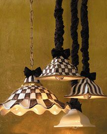 """MacKenzie-Childs """"Courtly"""" Hanging Lamps"""