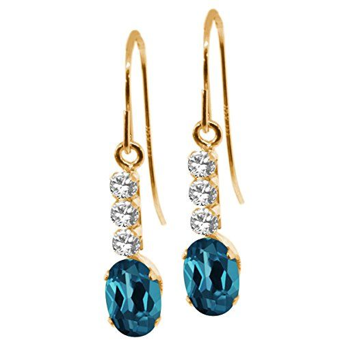 1.23 Ct Oval London Blue Topaz White Sapphire 10K Yellow Gold Earrings. This item is proudly custom made in the USA. 100% Satisfaction Guaranteed. Gemstones may have been treated to improve their appearance or durability and may require special care.