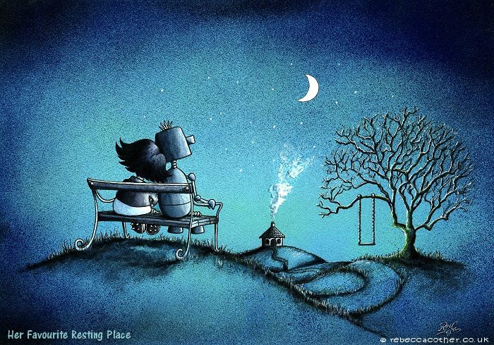 'Her Favourite Resting Place' by Rebecca Cother original painting available on. www.rebeccacother... love, robots, moonlight, tree swings, using spray paints and watercolours.