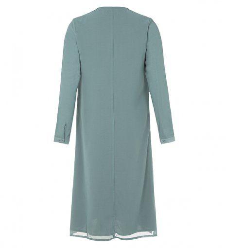 teal long shirt dress with bow collar