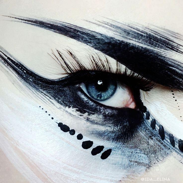 Black & white abstract art eye makeup by Ida Ekman, Finnish makeup artist