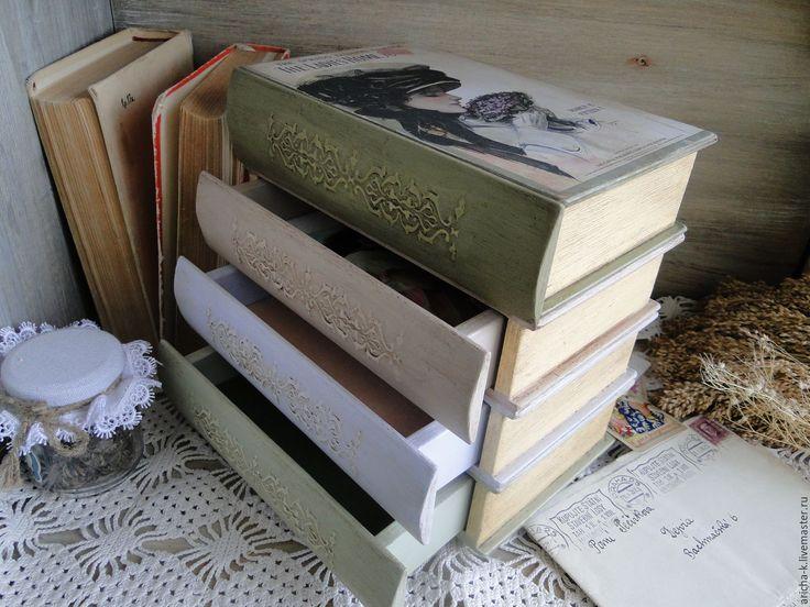 """Купить Мини-комод """"Стопка книг"""" - комбинированный, прованс, нежность, книги винтаж, книга для записей"""