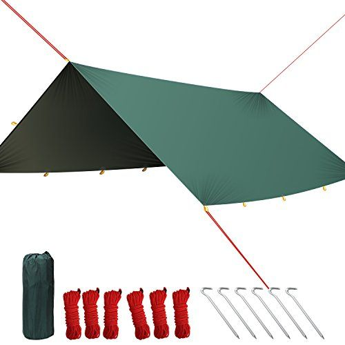 PAMASE 10' Hammock Rain Fly Tent Tarp with 18 Tie-outs for Camping Shelter - Ripstop with PU-coating. For product & price info go to:  https://all4hiking.com/products/pamase-10-hammock-rain-fly-tent-tarp-with-18-tie-outs-for-camping-shelter-ripstop-with-pu-coating/