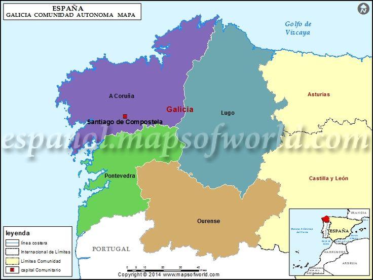 Ms de 25 ideas increbles sobre Mapa de galicia en Pinterest