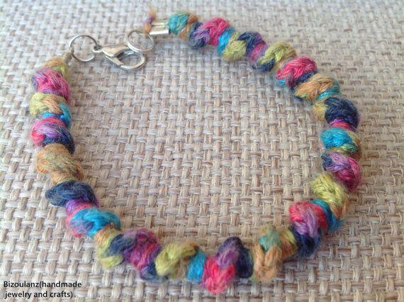 Multicolor crochet spiral bracelet,boho style,ethnic,colorful,tribal,friendship bracelet,stack bracelet blue,pink,green,teal,brown,purple