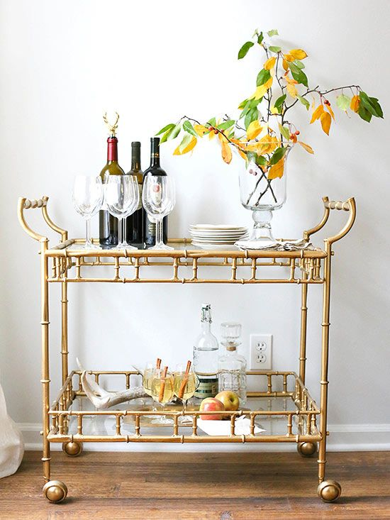 A fully stocked, beautiful bar cart is perfect for your next party!