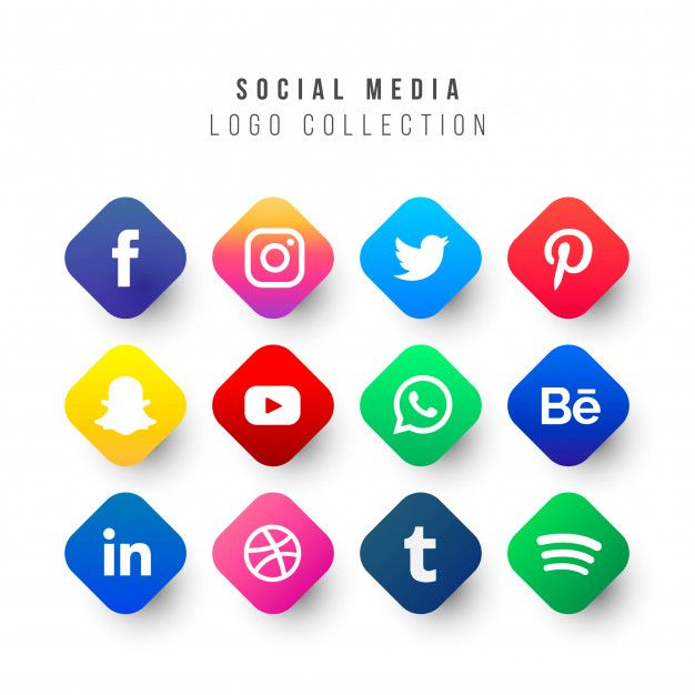 Download Social Media Logos Collection With Geometric Shapes For Free Logo Collection Business Cards Creative Templates Business Cards Creative