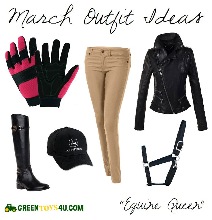 Whether you're jumping, trotting, or galloping, you'll look sleek in this March Outfit Idea. Cap together your riding outfit with our black John Deere Hat with liquid metal accents. Keep a rein on things with our two-toned women's work gloves, or bridle your ride in our special order John Deere bridle halter. Riding horses never looked so good. Check out GreenToys4u.com for products and more country outfit ideas!