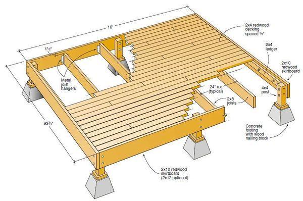 redwood deck freestanding
