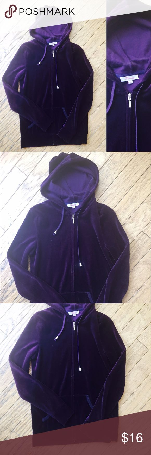 Purple Velour Tracksuit Hoodie Jacket Sweatshirt S Breezy - women's regular size small. Dark violet purple zip-up hoodie tracksuit sweatshirt. Loungewear or activewear suitable. Great condition with no flaws. JSYK - I discount all bundles 😊 Please make an offer if you're interested, thanks! Breezy Tops Sweatshirts & Hoodies
