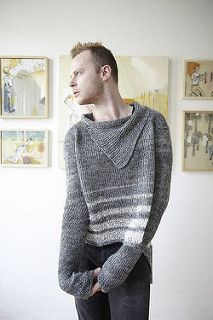 This simple top down raglan pullover uses worsted weight linen and a thinner fuzzy mohair/latex yarn for the contrasting stripes. The oversized sweater is meant to be worn with positive ease for a casual effect. Yarn over increases at the back and short row shaping accentuate the generous circumference. You can also utilize the back yarn overs by weaving yarn, ribbon, or leather cording through the holes. Feel free to substitute a variety of other yarns for a woolly winter pullover or ma...
