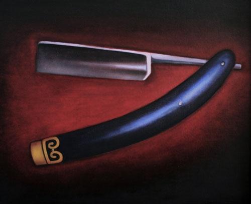 Barbershop Straight Blade oil on canvas Billy Barnes  FeralFactoryPublishing.com