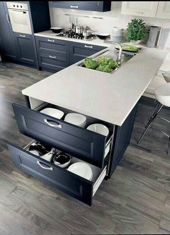 Utilize all parts of your kitchen by adding extra drawers at the end of any kitchen island.